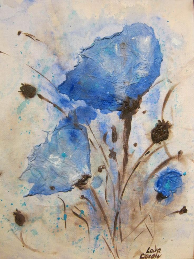 Blue Poppies ( acrylic on canvas) Copyright © Laura - Simona Ciocoiu