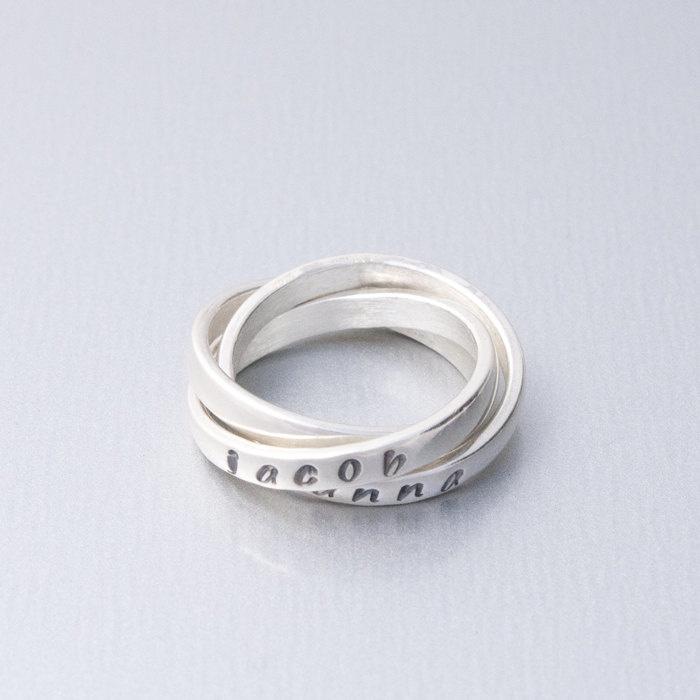 Triple Mother's Ring, Interlocking Name Rings ...