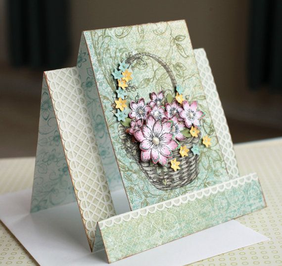 New Design- 3D Floral Basket Stand Up Step Card | The ...
