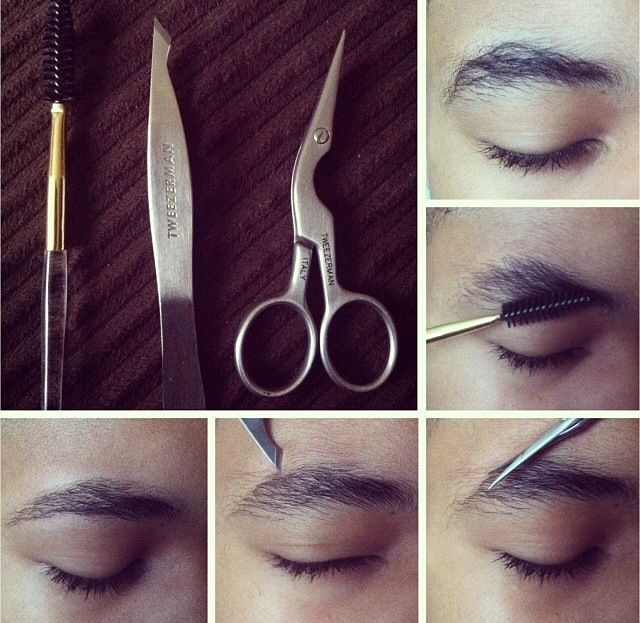 Male Brow Grooming Tutorial using Tweezerman Brow Shaping Scissors and Brush and Pointed Slant Tweezer