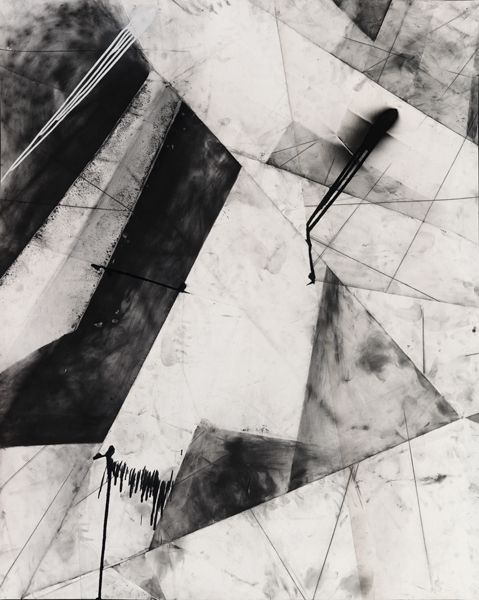 Karl Haendel,  'Abstract Chicago 1', 2010  Graphite, enamel and charcoal on paper  60 x 49 inches