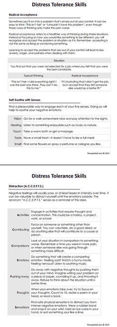 Dbt Distress Tolerance Skills Worksheet M An