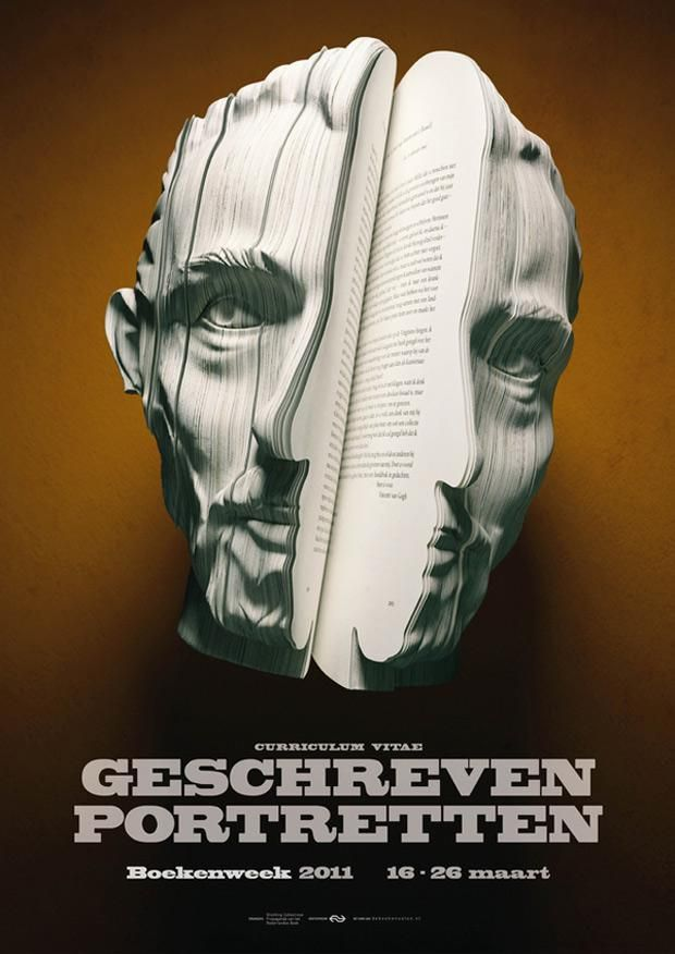 Sculpted Book Portraits Promoting Dutch Literature