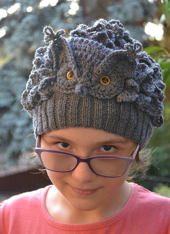 great horned owlGray Owl Crocheted knitted gray owl by DosiakStyle #gray #hat #owl #handmade #knit