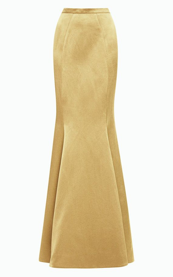 Floor length maxi Crepe Satin skirt Paneled skirt by Gorgones