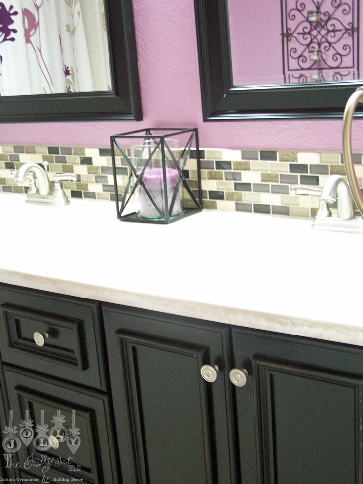 Our purple guest bathroom-vanity, faucets and back splash