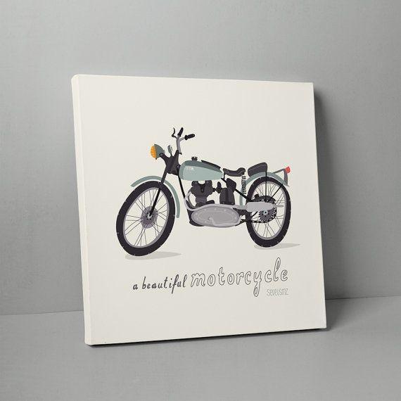 TABLEAU ART  Illustration vintage d'une moto by par SEVEUSMZ