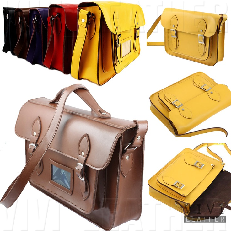 LEATHER Vintage Satchel Men's Women's NEW Briefcase ...