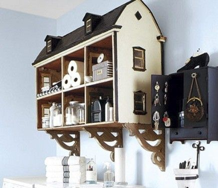 Old dollhouse used for bathroom storage.: Rooms Storage, Dolls Houses, Laundry Storage, Storage Shelves, Old Dolls, Cute Ideas, Laundry Rooms, Storage Ideas, Girls Rooms