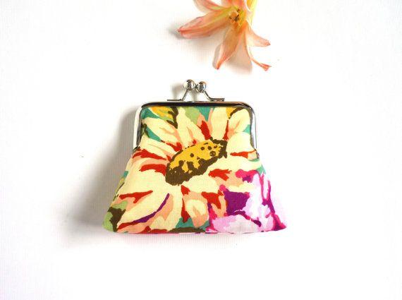 Sunflower floral spring summer purse vintage Kaffe by maplemist