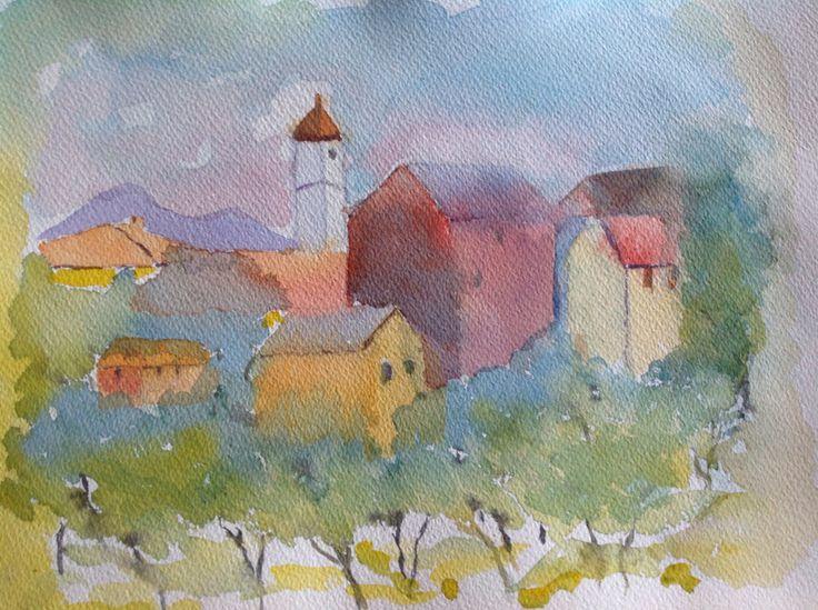 French village by Lisbeth Watkins