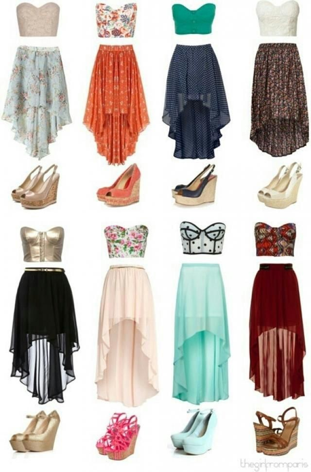 Love the high low skirts and the heels. But maybe crop tops instead...