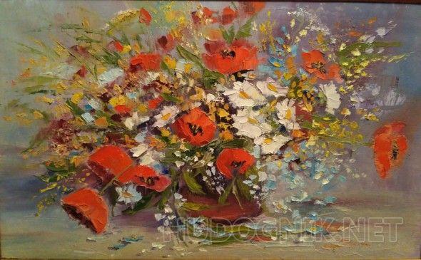 Маки Работа написана мастихином, насыщенным цветом
