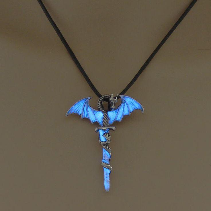 Halloween Vintage Luminous Pendant Necklace Sword Dragon Punk Men Jewelry at Banggood