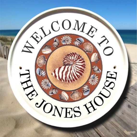 Creative Beach House Names Part - 20: Beach House Sign With SeaShells / Family Name Sign/Beach Address Sign/Home  Address