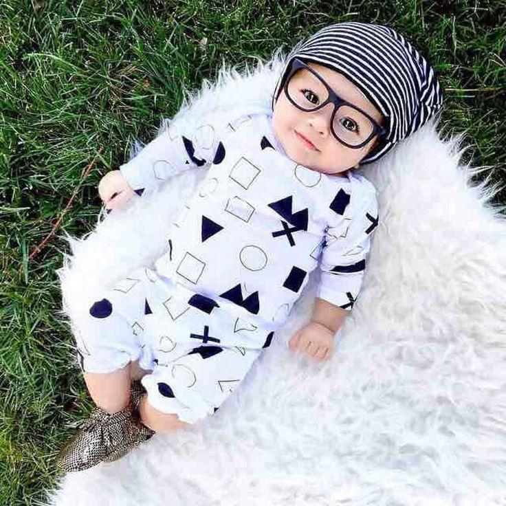 Unisex Newborn Baby Boys Girls Symbol Cotton Clothes Bodysuit Rompers 0-24M