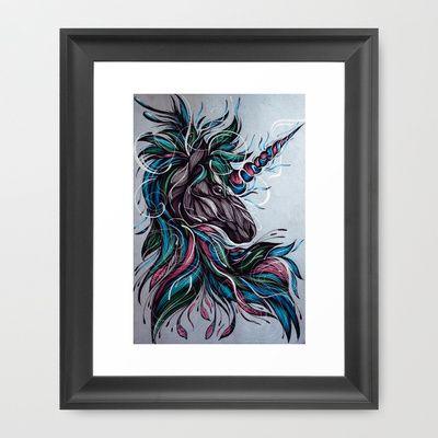 Unicorn!+Framed+Art+Print+by+Lera+Razvodova+-+$34.00