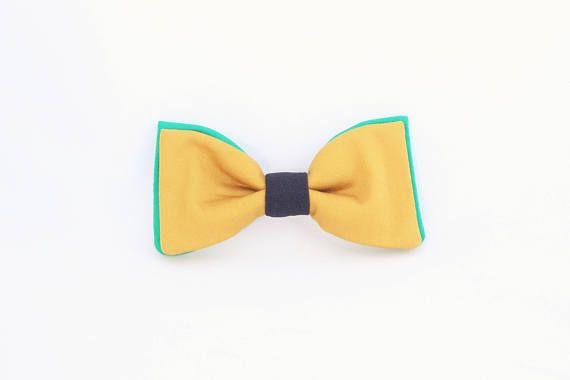 Noeud papillon jaune et vert noué interchangeable homme et