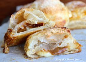Pasteles Gloria (Colombian Pastry Stuffed with Dulce de Leche, Guava Paste and Cheese)