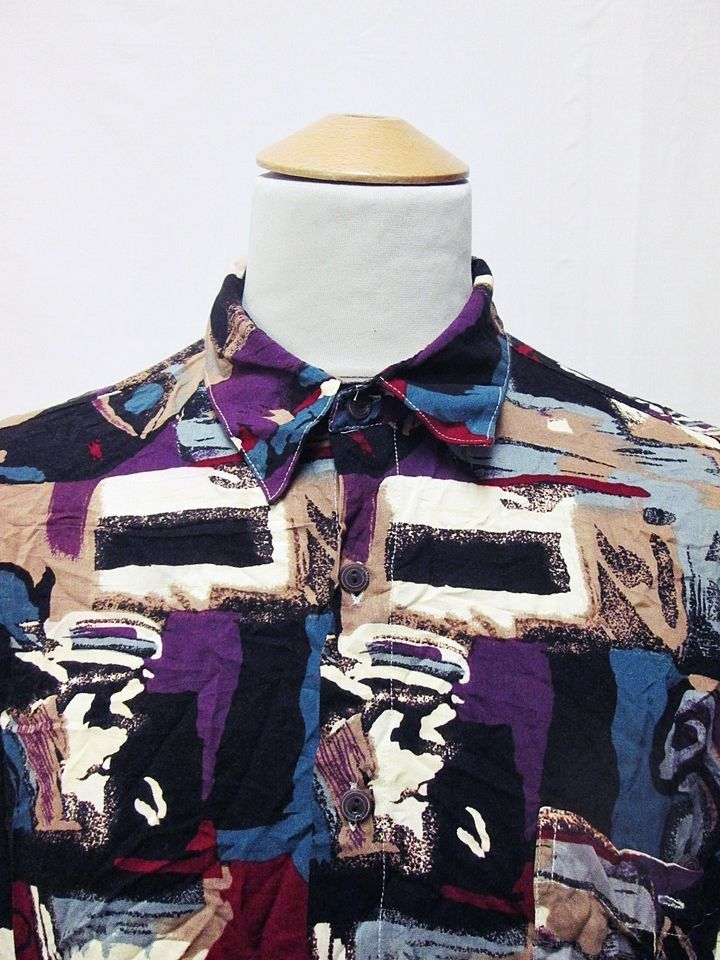 Vintage 90s Geometric Party Shapes Indie Mens Crazy Pattern Shirt Large