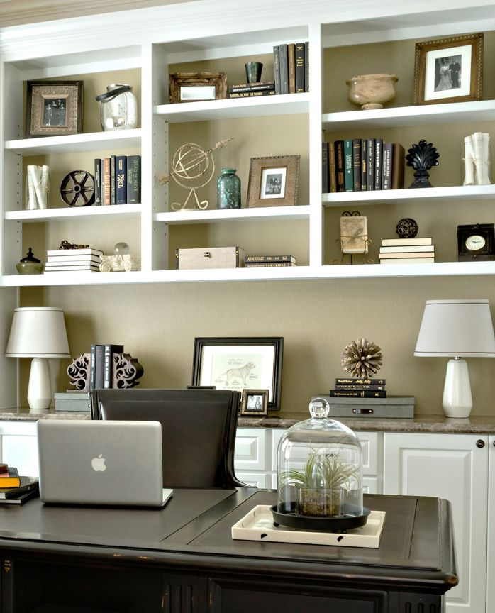 Study Bookcase Accessorizing Adding Old Family Photos And