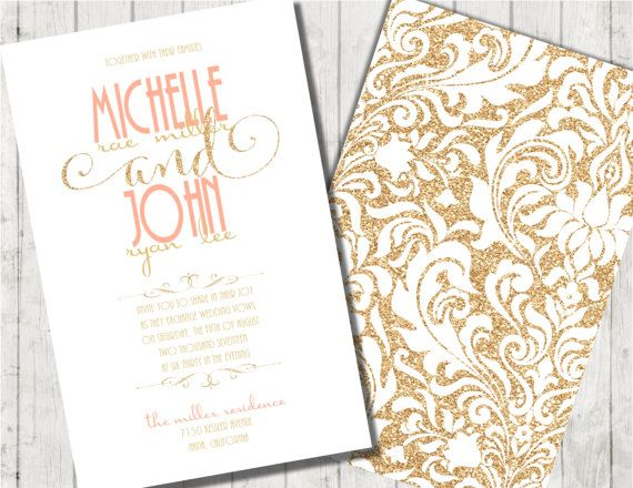 Coral And Gold Wedding Invitation Gold Glitter By Joyinvitations