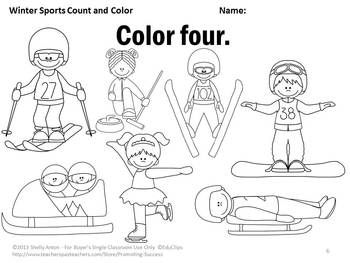 Winter Sports Count and Color Activity Book: Here are 10 pages to help your students learn number words for one through ten. The students will love counting and coloring with a winter sport's theme! An extension activity idea for your math journals is also provided.