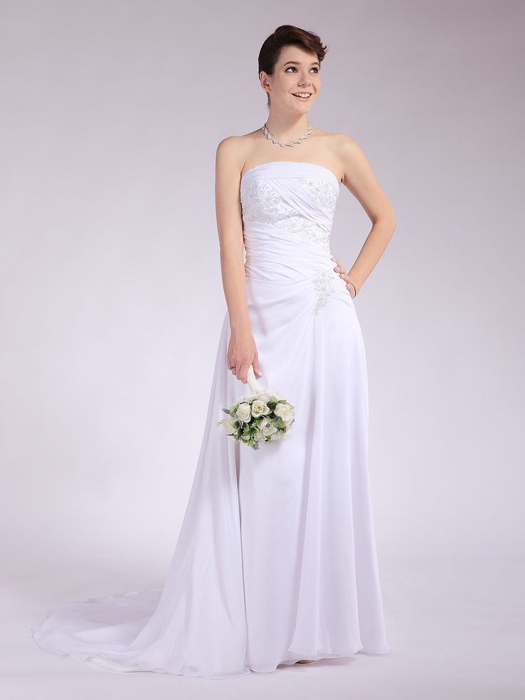 Beaded Chiffon Wrap Wedding Dress with Train
