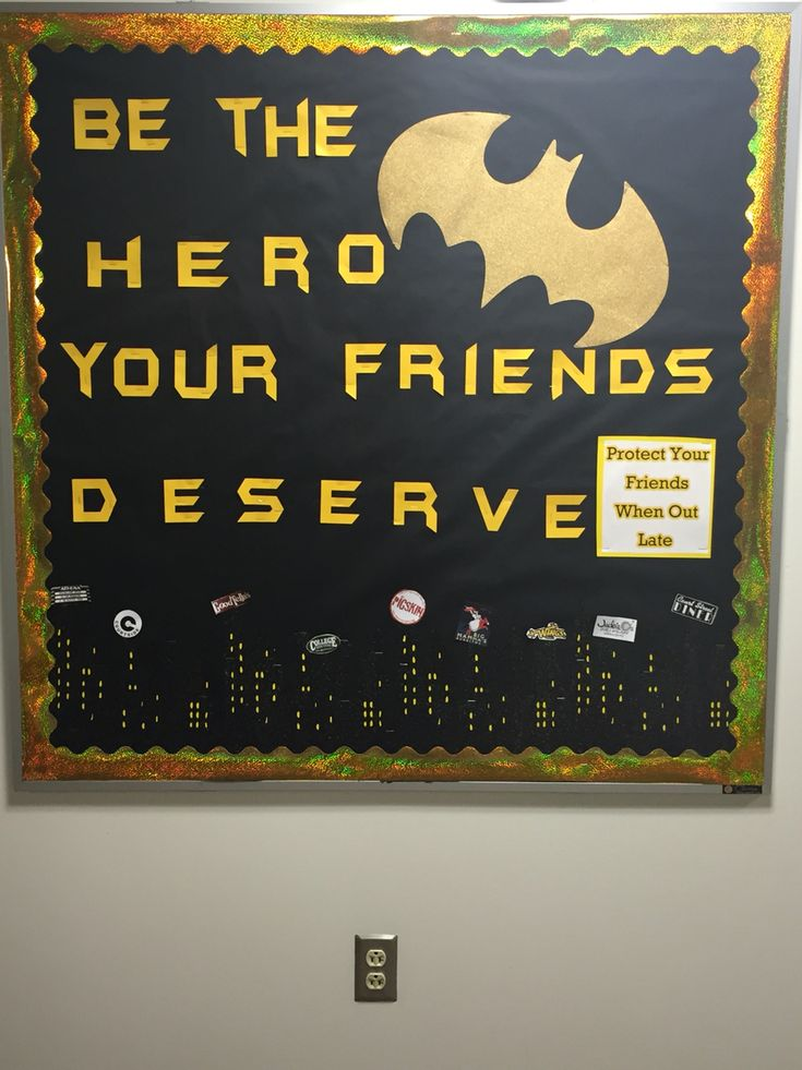 Batman bulletin board about walking home safe #batman #bulletin #bulletinboard…