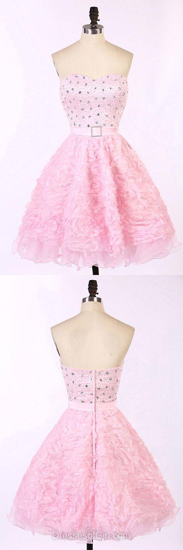Baby Pink Prom Dresses, Sweetheart Formal Dresses, Short Evening Dresses, Tulle Homecoming Dresses, Beaded Graduation Dresses
