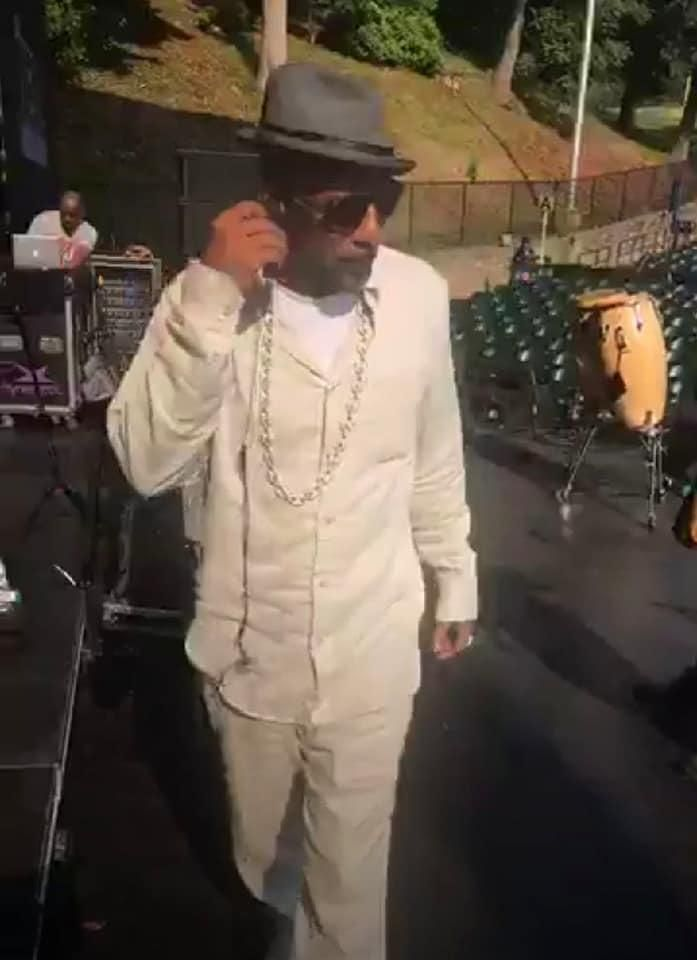 Ralph Tresvant doing a sound check before a concert at The