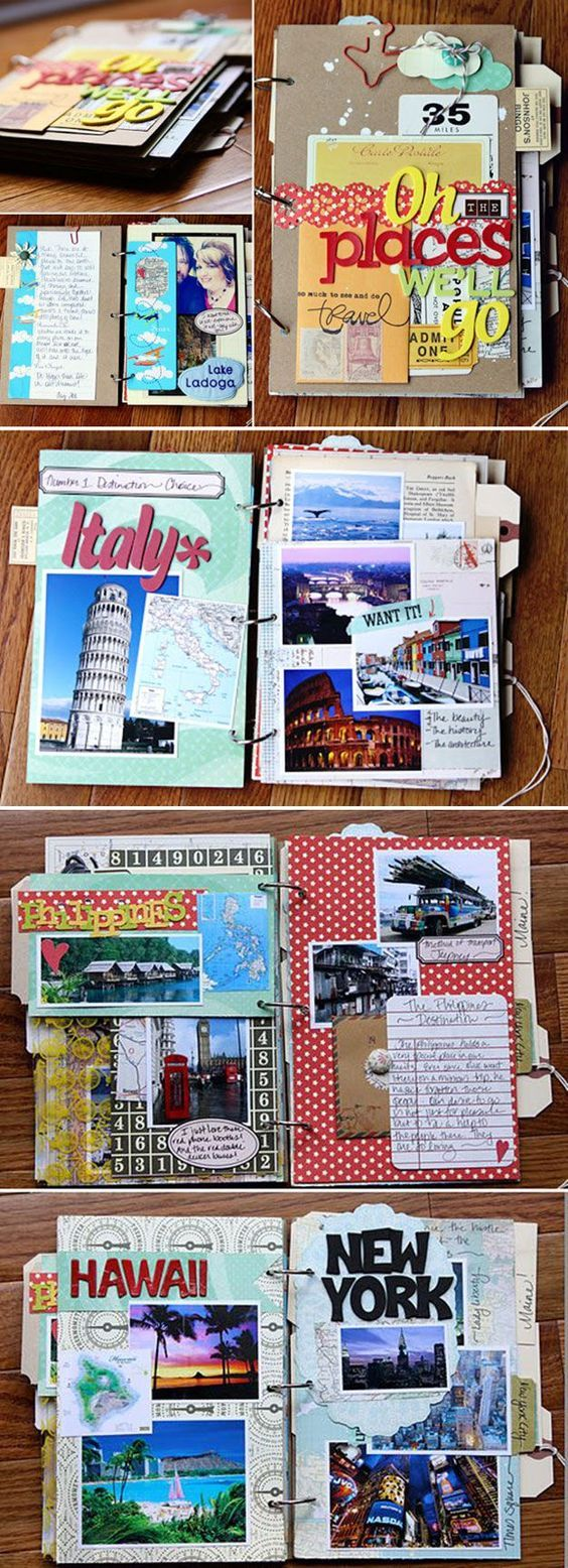 Cute and Easy Scrapbook Design Tutorial | Travel Scrapbook by DIY Ready at http://diyready.com/cool-scrapbook-ideas-you-should-make/: Más