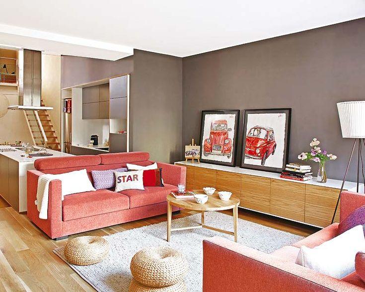 salon gris rouge et bois - Salon Gris Et Bois