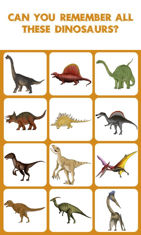 Dinosaurs Match: Memory Match Game: is a concentration-style educational memory game for  kids and adults to experience the worlds most amazing Dinosaurs. Kids of all ages and grades can  enjoy this Dinosaurs memory game along with their parents, grandparents as it's going to activate  some areas of their brain responsible for memory acquisition which therefore can help their memory  improve.