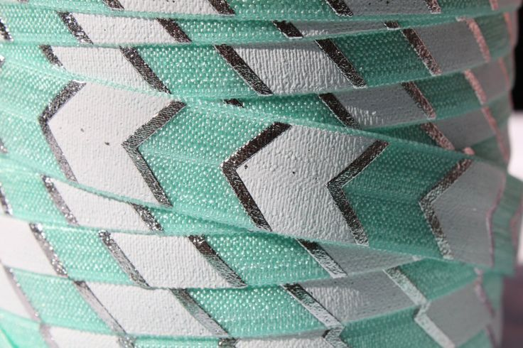 """Seafoam with Silver Foil FOE 5/8"""" -Fold Over Elastic 5/8 inch by the yard...Print FOE, Headbands, Hair Ties and More!"""