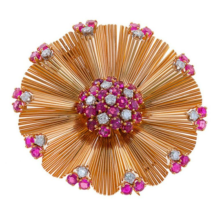 1STDIBS.COM Jewelry & Watches - Retro Gold, Diamond & Ruby Brooch - Sheila Goldfinger Antiques & Estate Jewelry