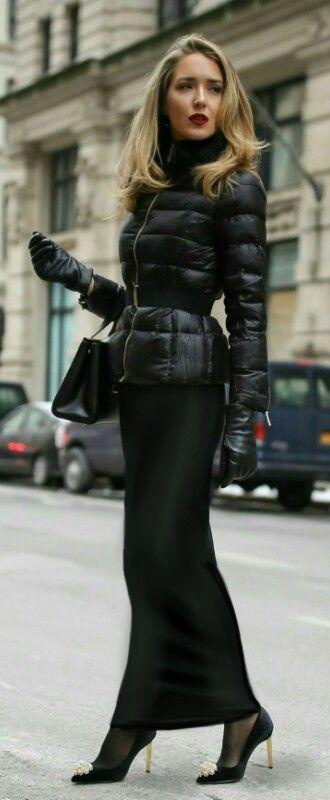 Long black tube skirt