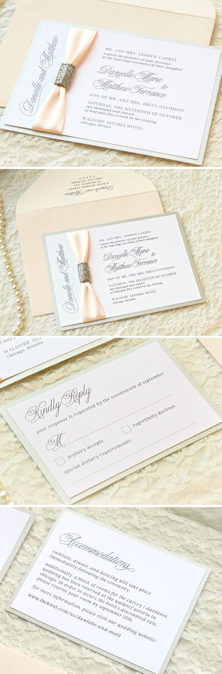 DEPOSIT: The Serendipity Suite   Blush Shimmer, Rose Gold Glitter, Satin  Ribbon Wedding Invitation Suite   Elegant, Luxe, Formal, And Glam