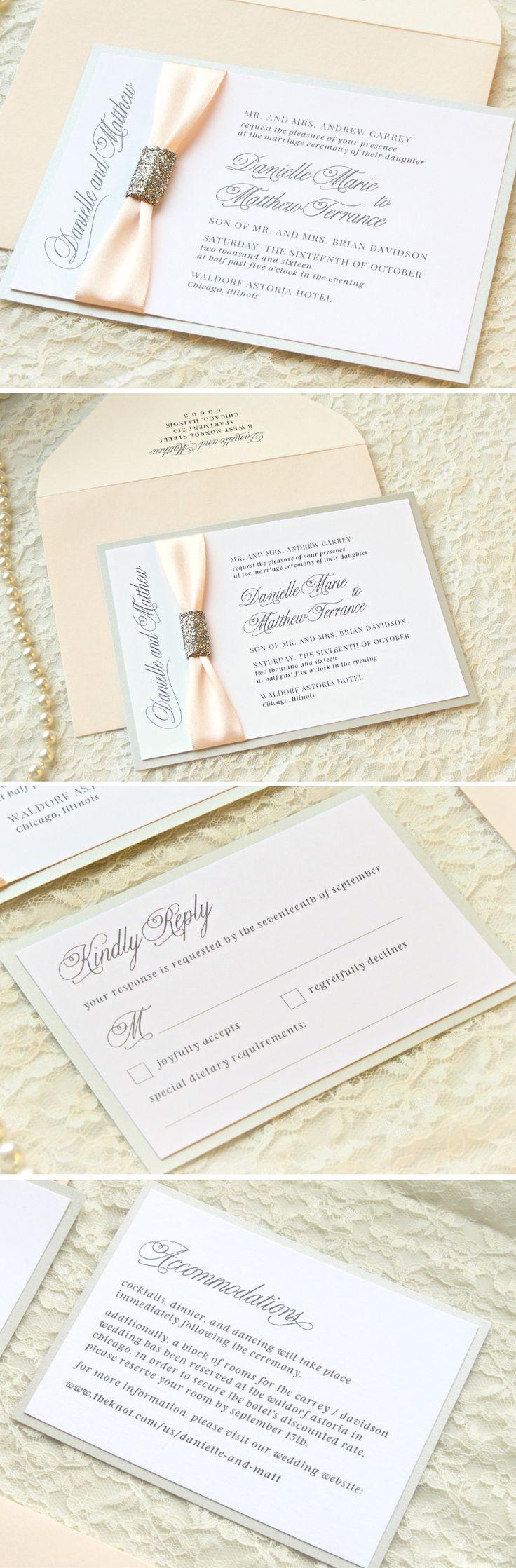 Glitzy Blush and Silver Wedding Invitation Suite - Elegant, Satin Blush Ribbon, Glitter Embellishment - Blush Wedding Invitations