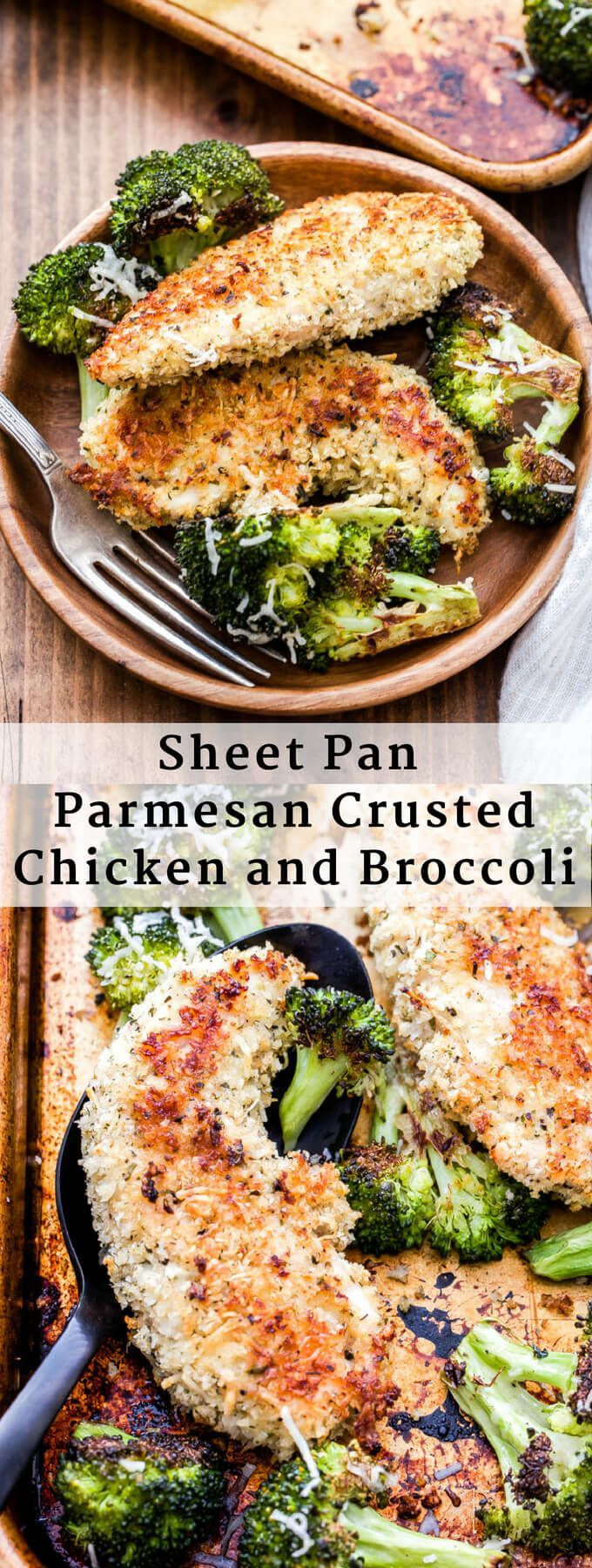 Sheet Pan Parmesan Crusted Chicken and Broccoli is a family friendly, easy to ma…