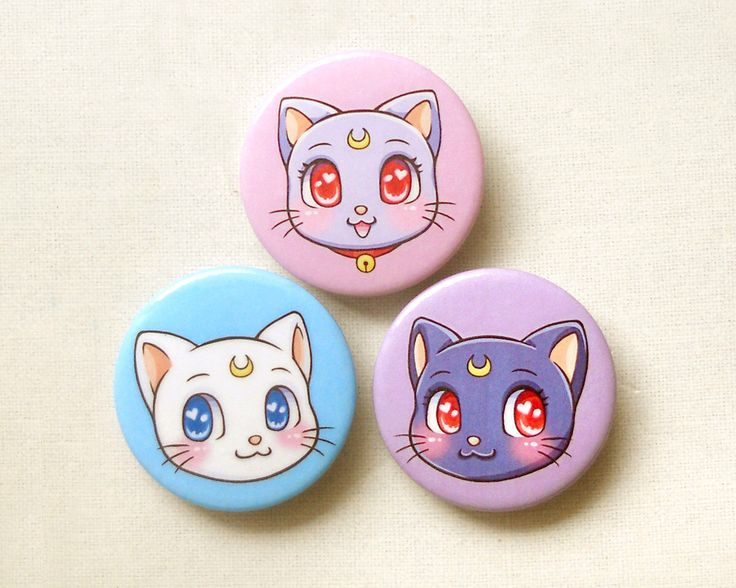 Sailor Moon Cats Pinback Button Set of 3: Sailor Moon Anime Luna, Artemis, Diana, Cute Cat Pin Badges, Anime Brooch Pin, Backpack Accessory by BeagleCakesArt on Etsy https://www.etsy.com/listing/224893737/sailor-moon-cats-pinback-button-set-of-3