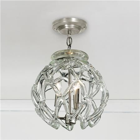 "Crystal Web Globe Pendant Light, 3 x 40w, 13""h x 11.5""w"