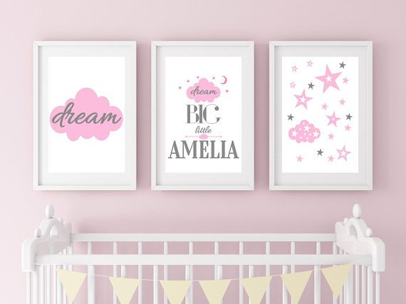 Dream Big Little One Dream Big Wall Art Pink & Grey Cloud