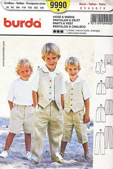 wykrój Burda - elegancki komplet dla chłopca: kamizelka i spodnie w trzech wersjach długości