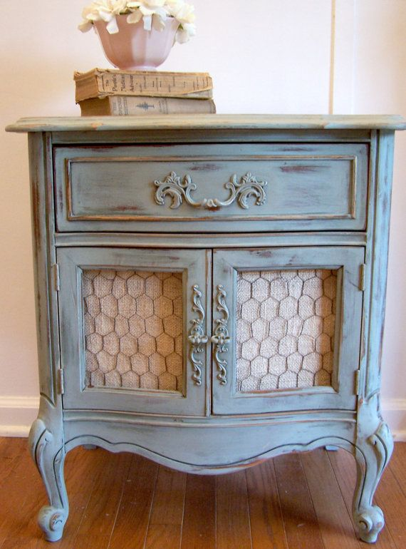 French Provincial HandPainted Side Table by WrenWillowDesigns, $120.00