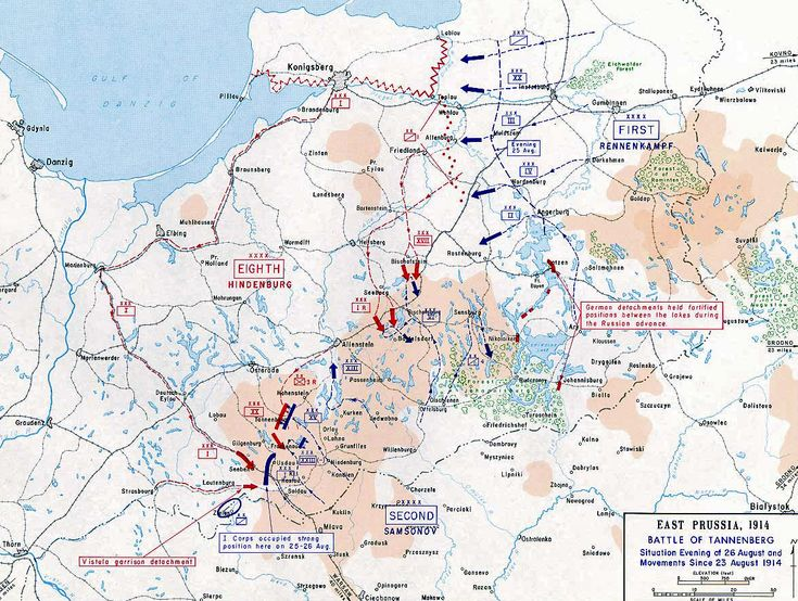 Map of the Battle of Tannenberg - First Day, 1914