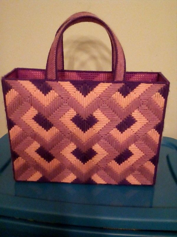 My Plastic canvas tote I made for myself!