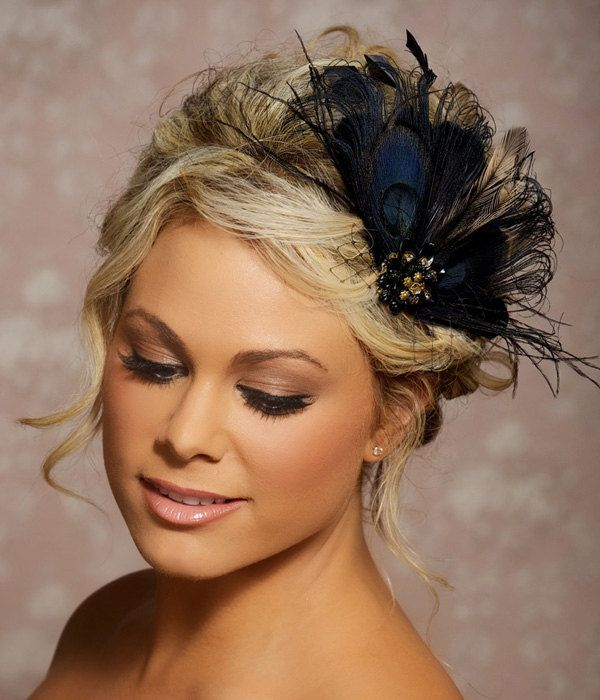 black peacock hair clip bridal head piece peacock feather fascinator wedding hairpiece hair accessories made to order tonya