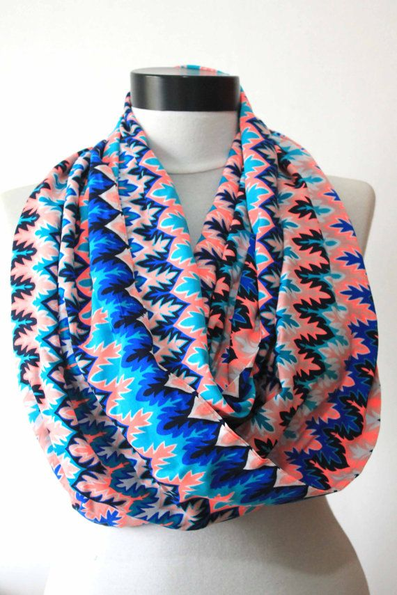 blue chevron  scarfprint scarflong by starshopboutique on Etsy