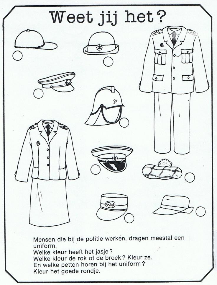 Werkblaadje kledij van de politie
